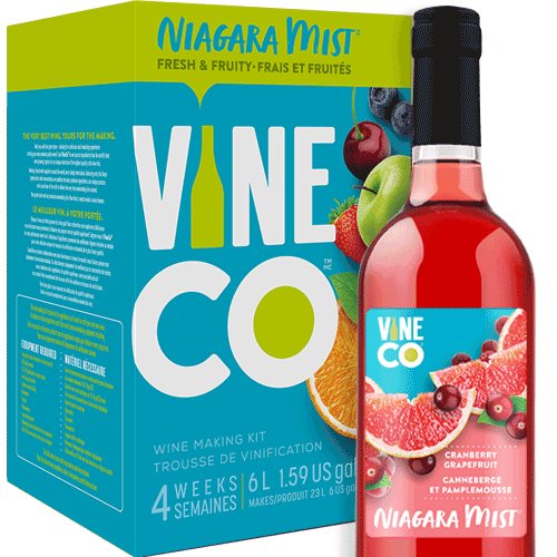 The VineCo Niagara Mist lineup offers a crisp, easy-drinking alternative to more traditional winemaking kits. These fruit-forward wine kits are all about capturing the refreshing essence of juicy ripe fruit. Light and crisp and offered in a full assortment of reds, whites, and rosés. Niagara Mist wines are easily enjoyed on their own, but also work well as the base for punches or wine spritzers.  Cranberry Grapefruit is a well balanced juicy blend of flavorful tart red cranberry and zesty pink grapefruit. A light-bodied, sweet rose with an alcohol level of 6% by volume.