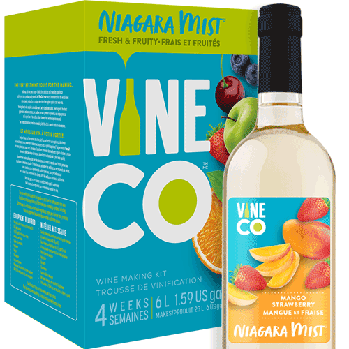 The VineCo Niagara Mist lineup offers a crisp, easy-drinking alternative to more traditional winemaking kits. These fruit-forward wine kits are all about capturing the refreshing essence of juicy ripe fruit. Light and crisp and offered in a full assortment of reds, whites, and rosés. Niagara Mist wines are easily enjoyed on their own, but also work well as the base for punches or wine spritzers.  An irresistible flavor tag team of fresh mango and sweet, sun ripened strawberries. Niagara Mist Mango Strawberry is a light-bodied, sweet white wine with an alcohol level of 6% by volume.