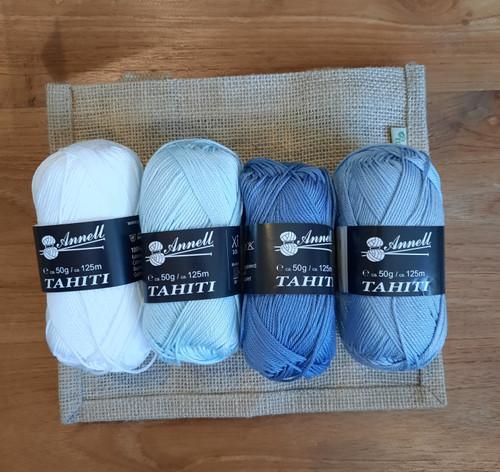 mini granny tas - licht blauw tinten