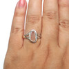 Pink Oval Drop Sea Glass Ring - Size 9