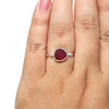 Round Red Sea Glass Beaded Ring - Size 7