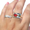 Red Oval Sea Glass Spinner Ring - Size 9.75
