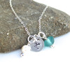 Silver initial disk charm sea glass necklace