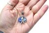 Cornflower and Abalone Starfish Sea Glass Charm Necklace