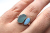Aqua Two Stone Sea Glass and Opal Bezel Set Ring