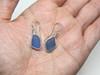 Cornflower Swoosh Drop Sea Glass Bezel Earrings