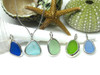 A Sea Glass and Sterling Silver Bezel Wrap Charm