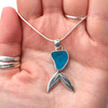 Turquoise Embossed Mermaid Tail Sea Glass Necklace