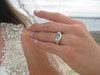 Majestic Sea Glass Engagement Ring - 14k Yellow Gold and Diamonds