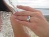 Majestic Sea Glass Engagement Ring - 14k Yellow Gold and Diamonds