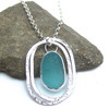 Nested Oval Sea Glass Pendant Necklace