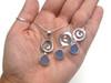 Cornflower Ocean Swirl Sea Glass Necklace and Earrings Set