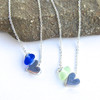 Small Silver Heart and Sea Glass Necklace
