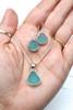Aqua Small Drop Sea Glass Necklace and Earrings Set