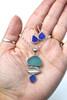 Aqua Mist Sea Glass Leaf Necklace and Earrings Set