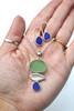 Cobalt Ocean Sea Glass Leaf Necklace and Earrings Set