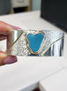 Amazing turquoise Heart of the Ocean Sea Glass Silver and 14k Gold Bracelet