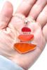 Orange Sunrise 3 Stone Sea Glass Bezel Set Necklace