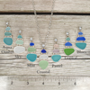 Three Tier Bezel Set Sea Glass Necklace