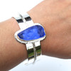 Cobalt Kaleidoscope Embossed Sea Glass Coastline Cuff Bracelet