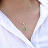 Droplet Sea Glass Sterling Silver Necklace