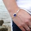 Voyager Silver and Gold Bezel Set Hinge Bangle Bracelet
