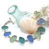 Cornflower Mist 9 Stone Sea Glass Bracelet
