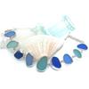 9 Stone Bezel Set Sea Glass Toggle Bracelet
