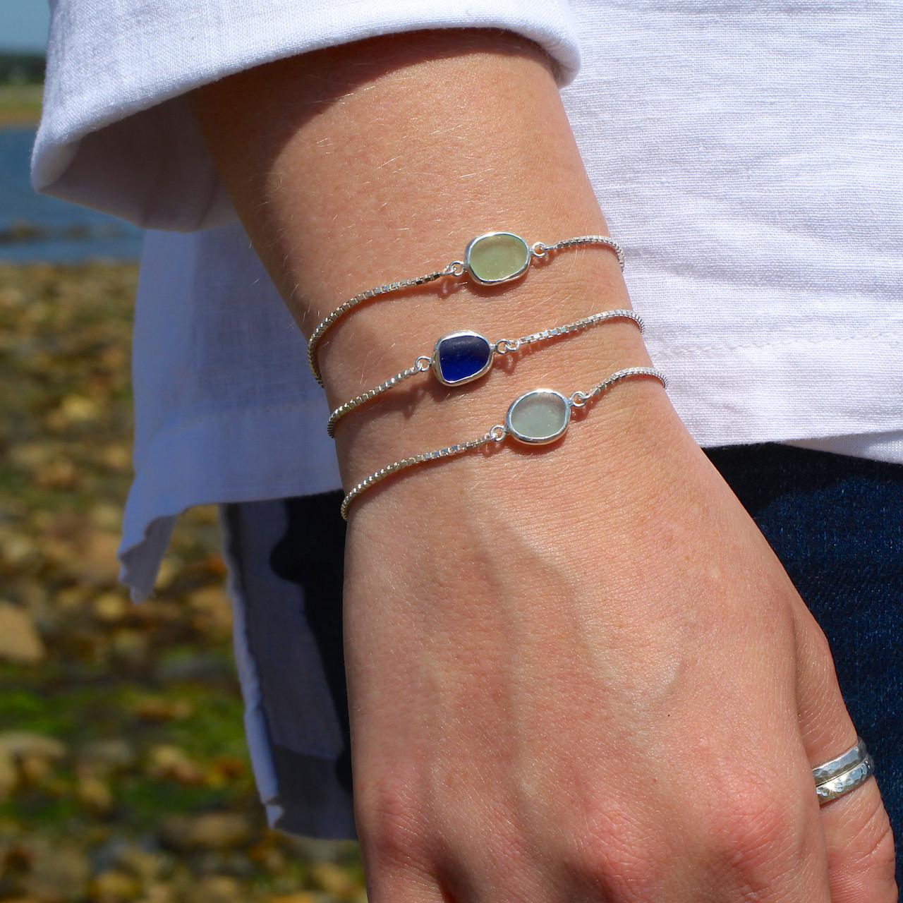 glass bead bracelet Minimalist Tie on Bracelet tie on cord bracelet tiny bead bracelet sea glass bead anklet