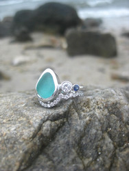 Custom Sea Glass Engagement Rings