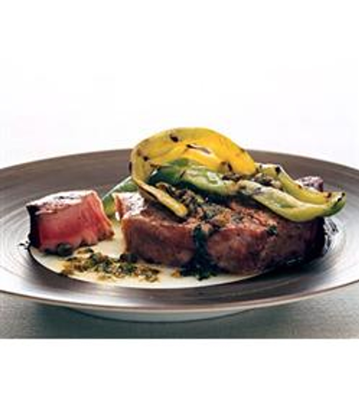 Grilled Tuna with Peppers and a Caper Vinaigrette