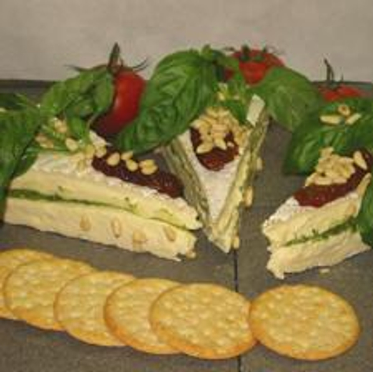 French Brie Torte with Pesto