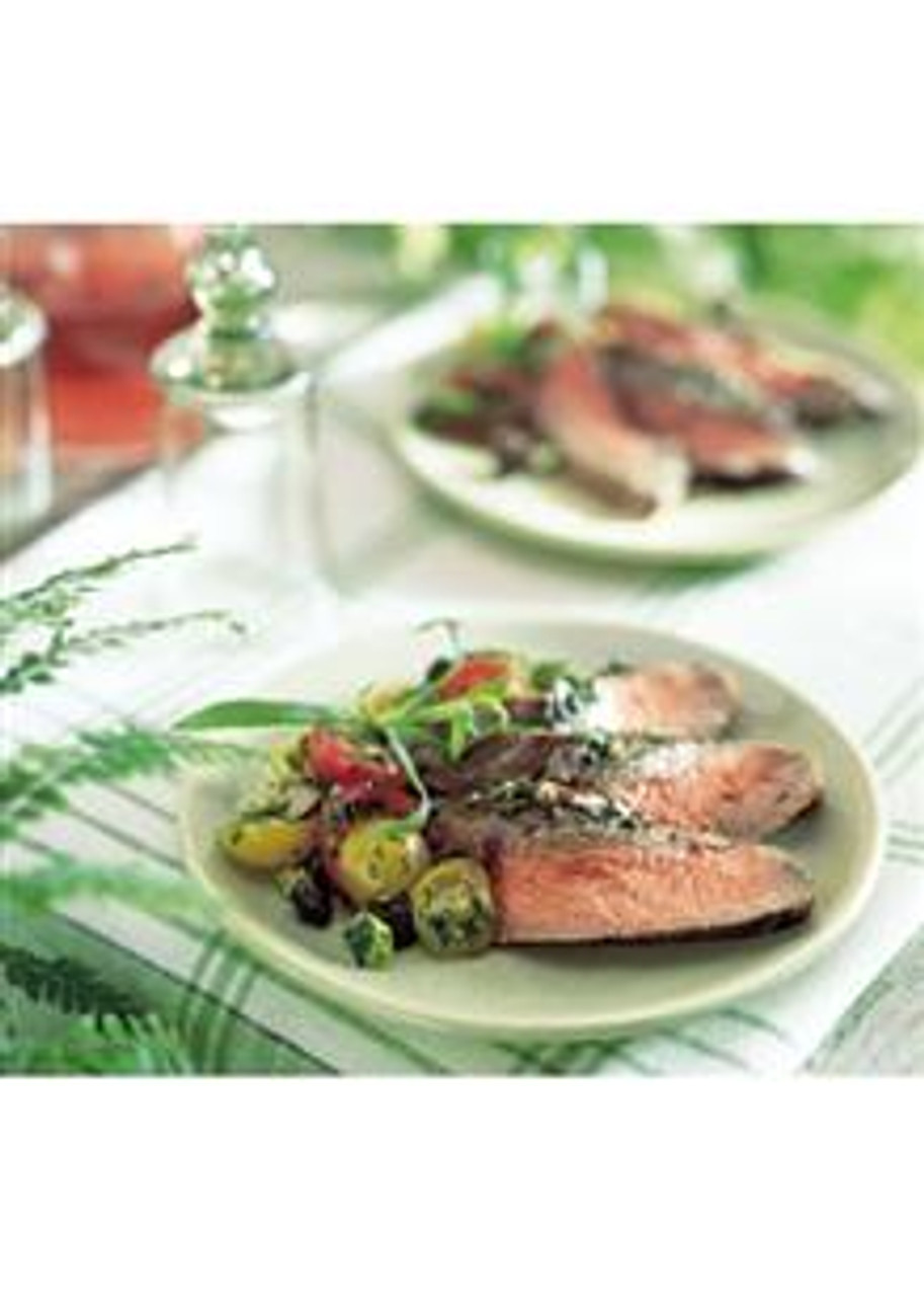 Encrusted Flank Steak with Cherry Tomato & Olive