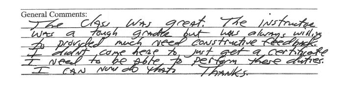 Original Copy of Student's Comments