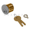 """Ilco 1-1/8"""" Mortise Cylinder, 5-pin (Drilled 6), Yale Y1 Keyway, Standard Cam, Satin Chrome Finish, Keyed Different"""