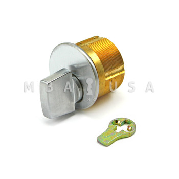 "TURN KNOB MORTISE CYLINDER 15/16"" ADAMS RITE CAM - SATIN CHROME"