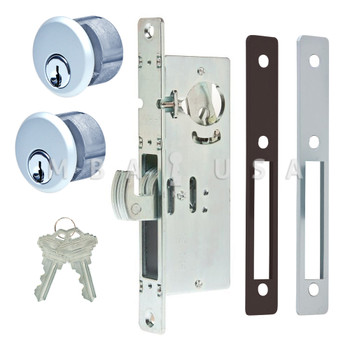 "HOOK BOLT LOCK 31/32"" BACKSET, 2 MORTISE KEY CYLINDERS - 1"" SCHLAGE C (ALUMINUM) AND 2 FACEPLATES"