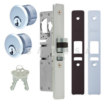 """LATCH BOLT LOCK 1-1/8"""" BACKSET (RIGHT HAND), 2 MORTISE KEY CYLINDERS - 1"""" SCHLAGE C (ALUMINUM) AND 2 FACEPLATES"""
