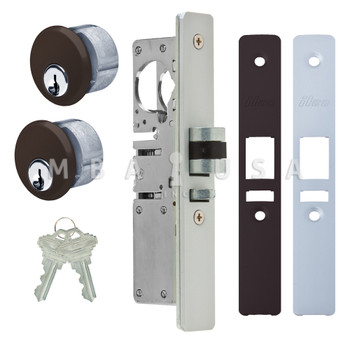 "LATCH BOLT LOCK 31/32"" BACKSET (LEFT HAND), 2 MORTISE KEY CYLINDERS - 1"" SCHLAGE C (DARK BRONZE) AND 2 FACEPLATES"