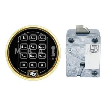 SPARTAN PIVOTBOLT (SWINGBOLT) LOCK PACKAGE W/ 2-BATTERY KEYPAD, BRASS