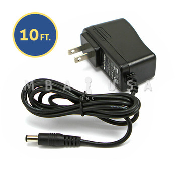 AC/DC 9 VOLT ADAPTOR, 10 FT CABLE