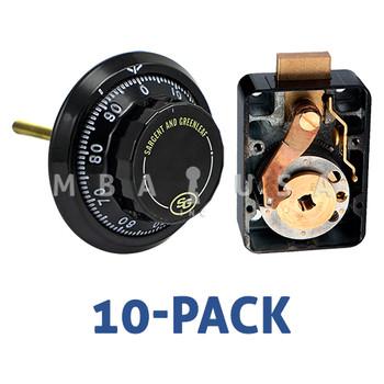Box of 10, 3-Wheel Lock, Front Reading Dial & Ring, Black & White, Pkg