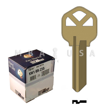 Ilco Taylor Key Blanks, Kwikset KW1, Brass (250 Pack)