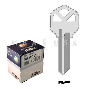 Ilco Taylor Key Blanks, Kwikset KW1, Nickel Plate (250 Pack)
