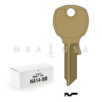 Ilco Taylor Key Blanks, National NA14, Brass (50 Pack)