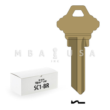 Ilco Taylor Key Blanks, Schlage SC1, Brass (50 Pack)