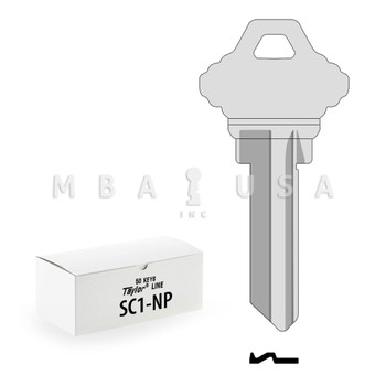 Ilco Taylor Key Blanks, Schlage SC1, Nickel Plate (50 Pack)