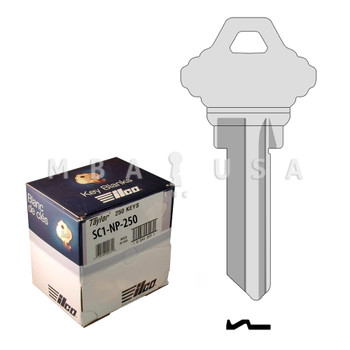 Ilco Taylor Key Blanks, Schlage SC1, Nickel Plate (250 Pack)