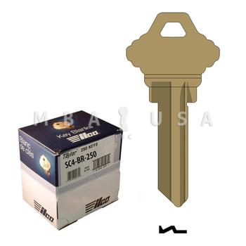 Ilco Taylor Key Blanks, Schlage SC4, Brass (250 Pack)