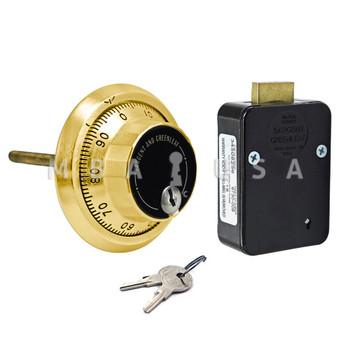 3-Wheel Lock, Front Reading Dial & Ring, Satin Brass, Key Locking Pkg